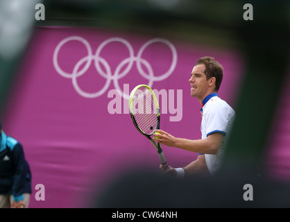 Richard Gasquet (FRA) at Wimbledon during the Olympic Games 2012 - Stock Photo