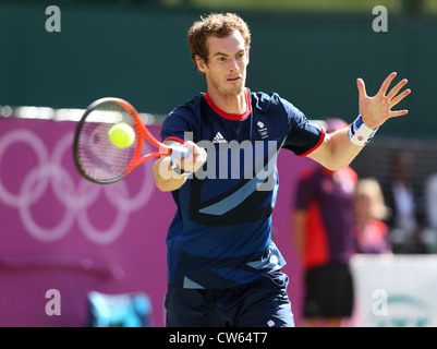 Andy Murray (GBR) in action at Wimbledon during the Olympic Games 2012 - Stock Photo