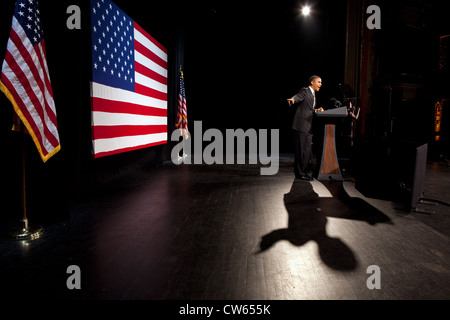 President Barack Obama delivers remarks at the Apollo Theater January 19, 2012 in New York, N.Y. - Stock Photo