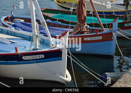Colourful fishing boats in Port of Saint-Tropez, Saint-Tropez, Côte d'Azur, Var Department , Provence-Alpes-Côte - Stock Photo