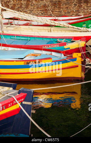Colorful Sailboats in the small harbor of Collioure, Languedoc-Roussillon, France - Stock Photo