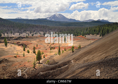 Mount Lassen and Painted dunes - Stock Photo