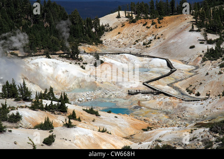 Bumpass Hell Viewpoint - Stock Photo