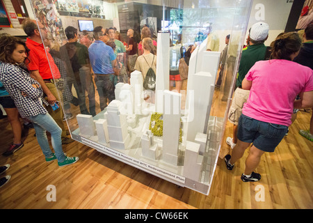 Miniature display showing the future 9/11 Memorial and surrounded area completed - Stock Photo