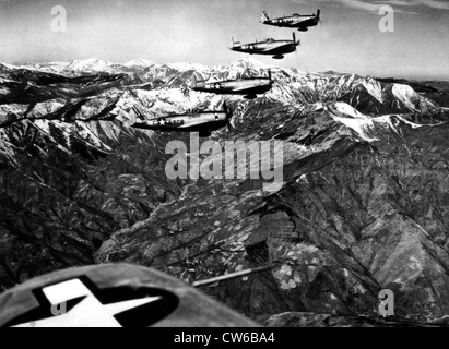 P-47 Thunderbolts fighters bombers fly over high over the Apenines (Italy) April 12, 1945 - Stock Photo