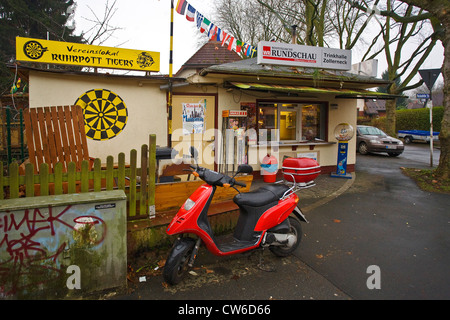 typical kiosk in the Ruhr Area, Germany, North Rhine-Westphalia, Ruhr Area, Dortmund - Stock Photo