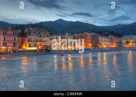 beach esplandade in Alassio, Italy, Liguria, Riviera dei Fiori - Stock Photo