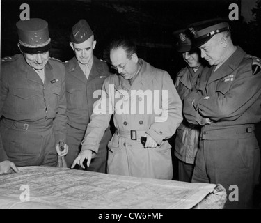 Ranking Allied leaders watch a war map in France (November 25, 1944) - Stock Photo