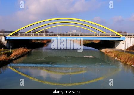 colourful motorway bridge over a chanel in Hamm Uentrop, Germany, North Rhine-Westphalia, Ruhr Area, Hamm