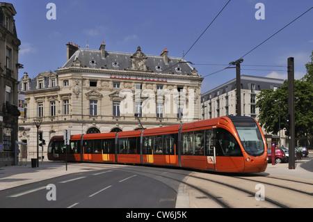 modern tram in Le Mans, France, Le Mans - Stock Photo
