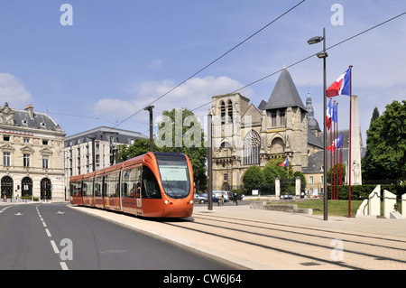 modern tram in front of the historic cathedral in Le Mans, France, Le Mans - Stock Photo