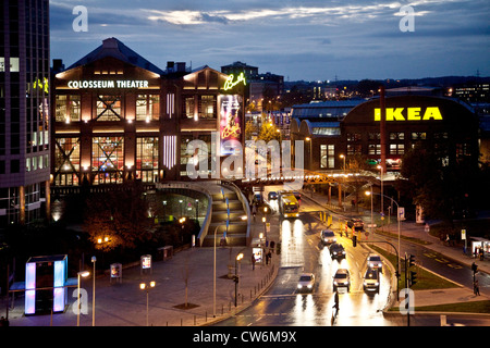 Weststadt with Colosseum (Musical) and IKEA in twilight, Germany, North Rhine-Westphalia, Ruhr Area, Essen - Stock Photo
