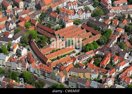 Fuggerei Augsburg, build from 1514 to 1523, Germany, Bavaria, Augsburg - Stock Photo
