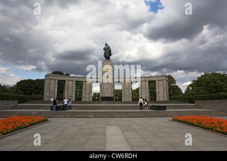 Soviet War Memorial in Tiergarten, Germany, Berlin - Stock Photo