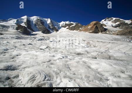 view from the Pers Glacier (Vadret Pers) on Piz Palue, Bellavista and Piz Bernina, Switzerland, Graubuenden, Engadine, - Stock Photo