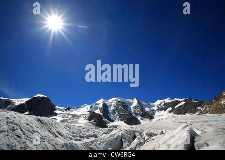 view from the Pers Glacier (Vadret Pers) on Piz Palue, Switzerland, Graubuenden, Engadine, Bernina-Diavolezza - Stock Photo