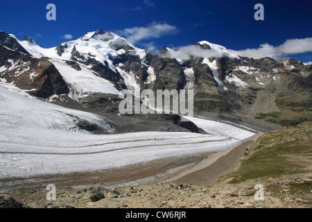 view from Diavolezza on Piz Palue, Bellavista, Piz Bernina, Pers Glacier (Vadret Pers), Switzerland, Graubuenden, - Stock Photo