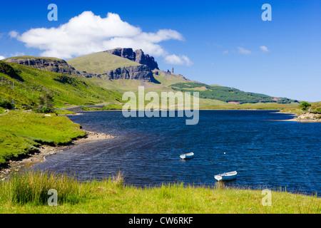 Old Man of Storr over Loch Fada, Isle of Skye, Highland, Scotland, UK. - Stock Photo
