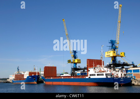 transport ships in Wismar harbour, Germany, Mecklenburg-Western Pomerania, Wismar - Stock Photo