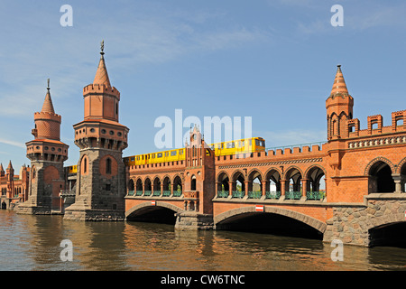 Oberbaumbruecke, Oberbaum bridge over Spree river, Germany, Berlin - Stock Photo