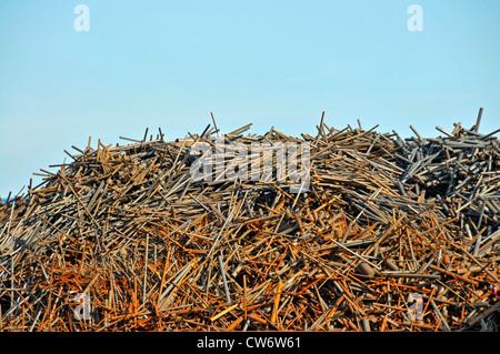 metall stacks on a wasteyard, Germany, North Rhine-Westphalia, Ruhr Area, Duisburg - Stock Photo