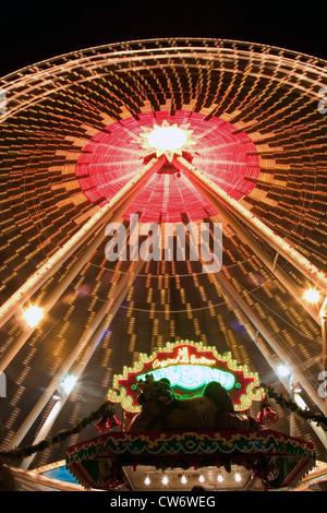 Ferris wheel by night, Germany, Berlin - Stock Photo