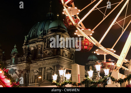 Ferris wheel in front of Berlin Cathedral, Germany, Berlin - Stock Photo
