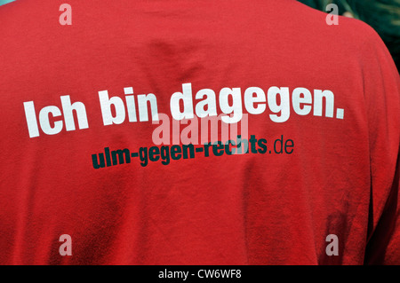 demonstration agains Neonazis, sweatshirt with the label I am against it 'Ich bin dagegen with URL, Germany, Baden - Stock Photo