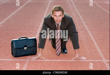 businessman at starting line - Stock Photo