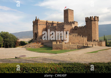 Castle and college at St. Francis Xavier birthplace, Javier in Spanish Pyrenees - Stock Photo