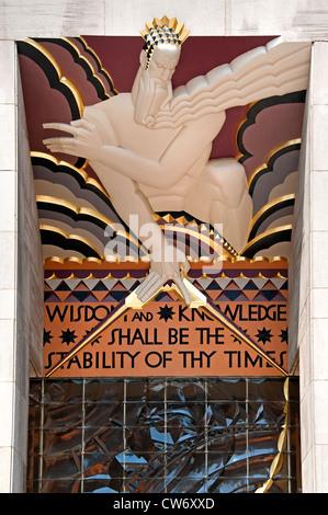 Wisdom Knowledge shall be Stability of Times Rockefeller Plaza New York City Manhattan - Stock Photo