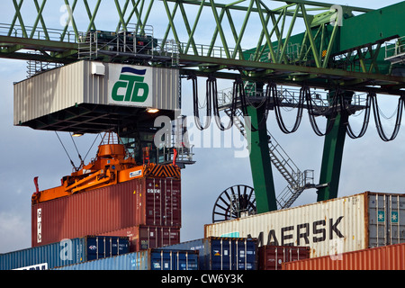 container terminal in the Harbour of Dortmund, Germany, North Rhine-Westphalia, Ruhr Area, Dortmund - Stock Photo