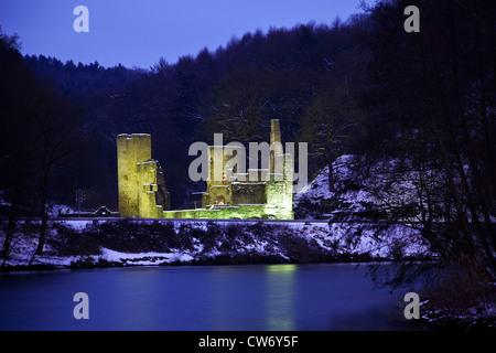 illuminated castle Ruine Hardenstein at Ruhr River in blue hour, Germany, North Rhine-Westphalia, Ruhr Area, Witten - Stock Photo