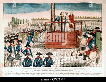 Execution of Queen Marie-Antoinette, October 16, 1793. - Stock Photo