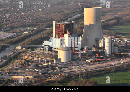 construction of a new coal-fired power plant in Datteln at Dortmund Ems channel and city of Datteln on the left, - Stock Photo