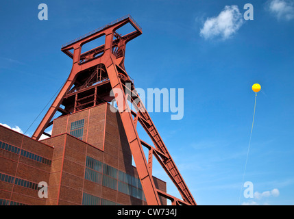 coal mine Zollverein, big yellow balloons over European Capital of Culture Essen marking former sites of coal mines, - Stock Photo