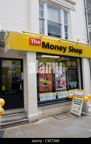 the money shop chain of pawnbrokers secondhand goods second hand retailer shop shops cash for gold highstreet high - Stock Photo