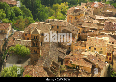 view over the roofs of a picturesque village , France, Provence-Alpes-C�te d�Azur, Moustiers-Sainte-Marie - Stock Photo