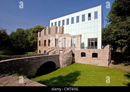 'Situation Kunst' in the ruins of Weitmar castel with the new 'Kubus', Germany, North Rhine-Westphalia, Ruhr Area, - Stock Photo
