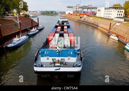 containership in the Vincke chanal in port of Duisburg, Germany, North Rhine-Westphalia, Ruhr Area, Duisburg - Stock Photo