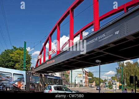 label Rheinische Bahn with logo of RVR at a bridge in Altendorf, Germany, North Rhine-Westphalia, Ruhr Area, Essen - Stock Photo