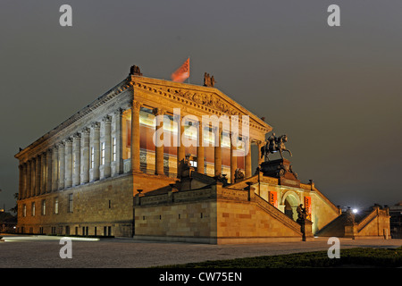 Old National galery on museum island at night, Germany, Berlin