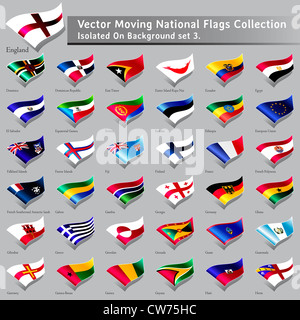 moving National Flags of the world isolated set 3 - Stock Photo