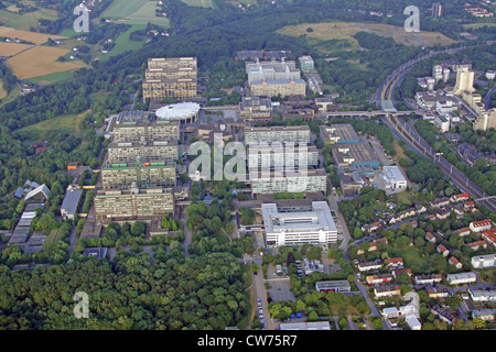 Ruhr University Bochum with University street, shopping mall Unicenter (right) and Botanical garden (left), Ruhrgebiet - Stock Photo