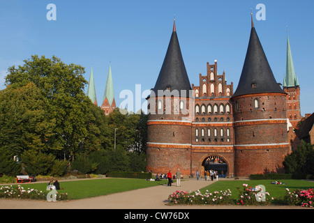 Holsten Gate with Petri Church and cathedral, Germany, Schleswig-Holstein, Luebeck - Stock Photo