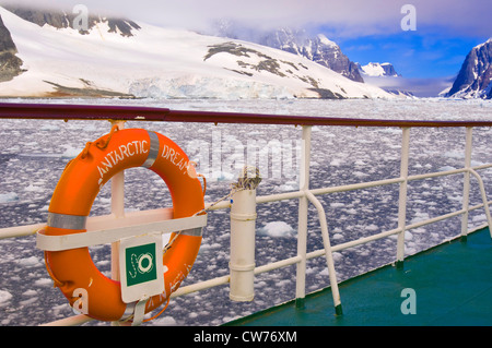 lifebuoy of ship Antarctic Dream in Lemaire Channel, Antarctica - Stock Photo