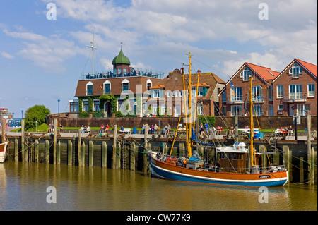 fishing cutter in harbour, Germany, Lower Saxony, Neuharlingersiel - Stock Photo