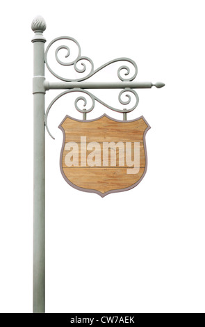 Metal Sign on street pole. Isolated on white - Stock Photo