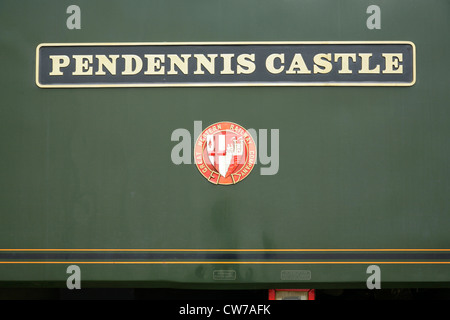 Nameplate of Class 57 diesel electric locomotive 57604 Pendennis Castle. - Stock Photo