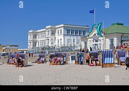 people in beach chairs on Norderney, Germany, Lower Saxony, East Frisia - Stock Photo